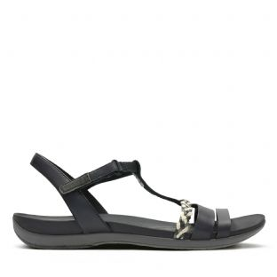 Clarks Womens Tealite Grace Black Leather Sandals